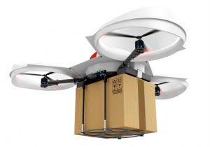 Drone entrega 3d con un paquete en el fondo blanco